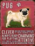 pug dog metal sign vintage style metal Pug wall hanging dog lovers gift